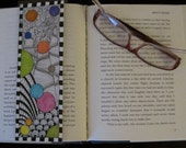 Handmade Original Watercolor Artwork, One of a Kind Double Sided Bookmark, Colorful Zentangle Circles, Bubbles