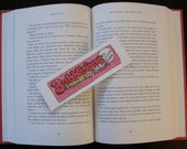 Handmade Pen & Ink Artwork, One of a Kind Bookmark, Pink, Yellow Strawberry Bubble Gum, Fun, Nostalgic