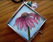OOAK Pink Echinacea Daisy Original Painting & Abstract, Double Sided Square Glass Silver Locket