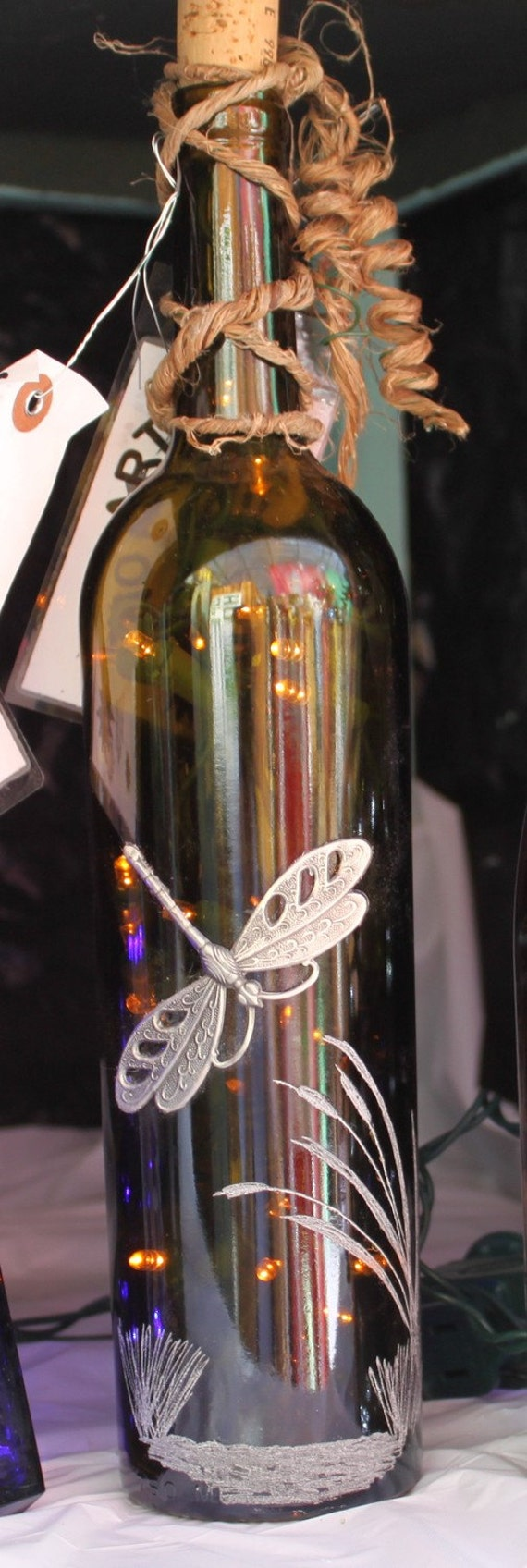 Wine Bottle Led Dragonfly Night Light Decrorative By