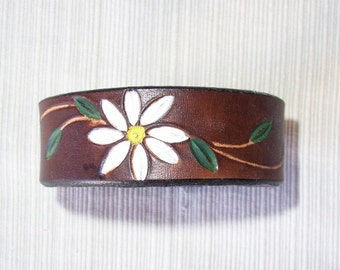Leather Cuff  Tooled with Daisy Flower