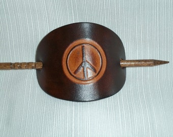 Large Leather Stick Barrette with Peace Sign