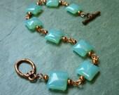 Bracelet - Aqua Blue Square Beads with Copper