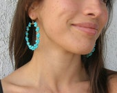 Welcome Summer ---- Turquoise Swarovski crystal 14k gold filled hoops and ear hooks