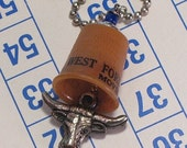 Wild West Thimblism Necklace 2  - Vintage Brown Plastic Thimble with Steer Charm - FREE US SHIPPING