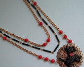 Lucky Dog - Upcycled  Assemblage Necklace - FREE US Shipping