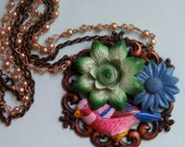 Spring Peeper - Upcycled Assemblage Necklace - FREE US shipping