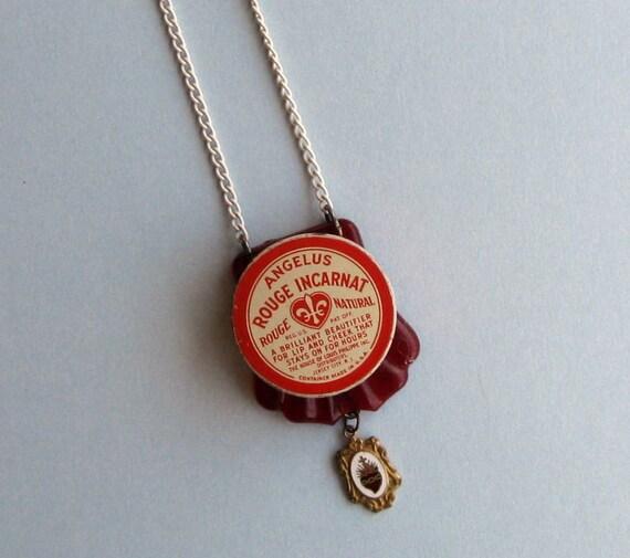 Rouge Incarnat - Upcycled Rouge Tin Locket Necklace - FREE US shipping