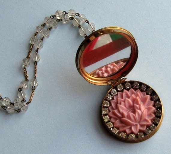 ON RESERVE for aggiesplace - Radiance of Spring - Upcycled Rouge Compact Locket Necklace with Mirror
