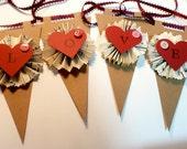 Valentine Pennant  Kraft Paper Garland/  LOVE