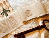 Tea Dyed Muslin Ribbon/ Hand Stamped/ FREE U.S. SHIPPING/Chocolates Anyone