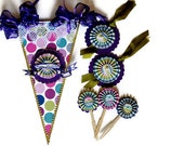 Pennant Party Decoration Set/ Pennet/ 6 Cupcake toppers/ 4 Gift Tags