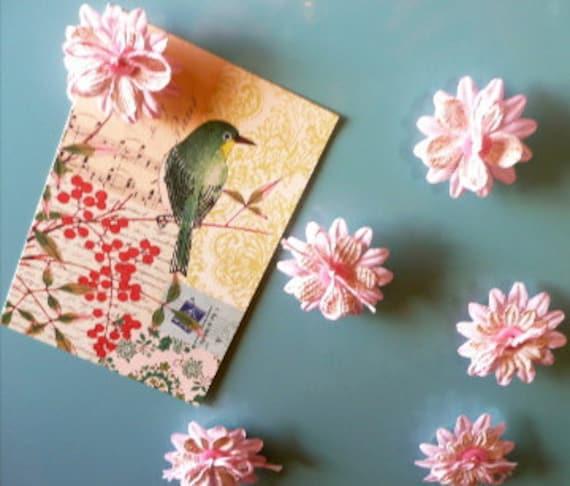Flower Magnets Set of 6 Parfait Pink