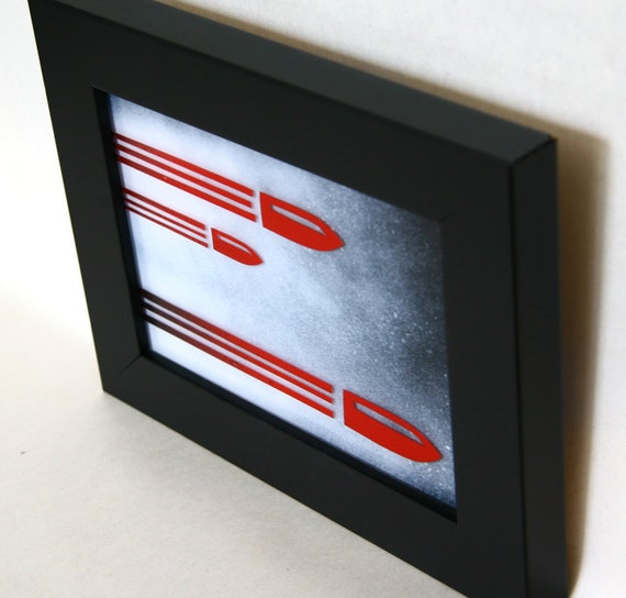 Drive By  - RESERVED FOR RALANCT - Gun Smoke Bullets - Framed Original Mini - paint on plexiglass - 5x7 - red white black