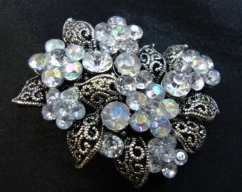 "4 pieces 1 1/2"" width crystal AB rhinestone flower jewelry brooches"