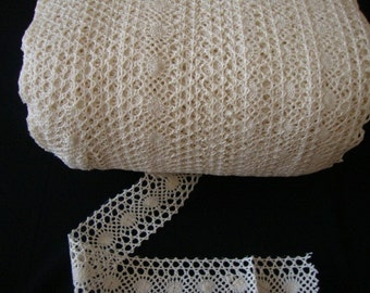 """2 yards 2"""" width double side natural ivory cotton crochet scalloped lace trim"""