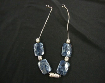 10 pieces Charcoal acrlylic and silver color chain fashion jewelry part  ( .80 cent each )