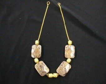 10 pieces Espresso acrlylic and gold color chain fashion jewelry part  ( .80 cent each )