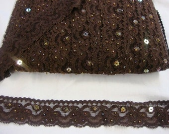 "10 yards1 1/4"" one side beaded and sequined brown stretch scroll lace trim to altered your fashion headband lingerie designs"