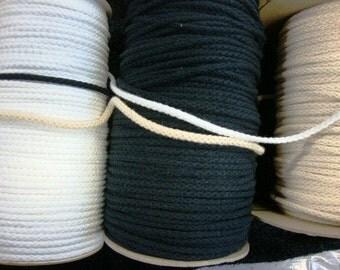 "Black cord 25 yards 1/4"" width ( 6 mm ) BLACK cotton cord robe/ black cotton string"