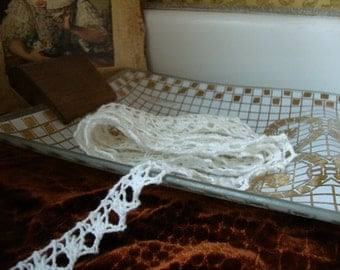 "20 yards 1/2"" width ( 13 mm ) white cotton crochet scalloped lace trim"