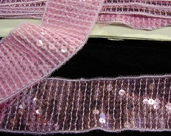 "2 yards 1 3/4"" width pink sequined trim by the yard"