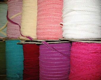 "55 yards 3/8"" width 22 colors lingerie elastic  trim with scroll and also good for headband designs"