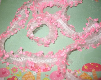 "2 yards 3"" width  pink edge trim on white organza Double Gathered  Lace trim for your fashion designs"