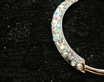 "10 pieces 2 1/4"" width ( 57mm ) SILVER TONE circle Crystal AB rhinestone fashion jewelry  for wedding and your fashion designs"