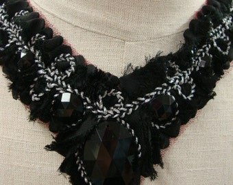 Neckline Applique Embellishment Necklace Beaded Beads Sequins on Black Tulle Unfinished Reconstructed Look Silver Thread Burgundy Tulle