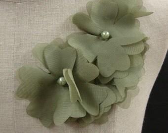 Delicate Neckline Applique Embellishment Necklace Rose Flower Petal Ruffled Chiffon Light Green