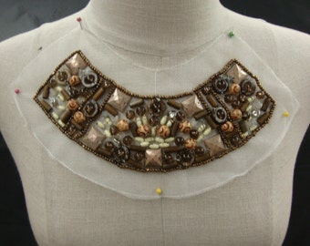 Neckline Applique Embellishment Necklace Multicolor Beads Natural Stone Color Metallic on White Tulle