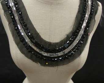Neckline Applique Embellishment Necklace Multicolor Beads Silver Color Metallic Sequins Beads on Black Tulle