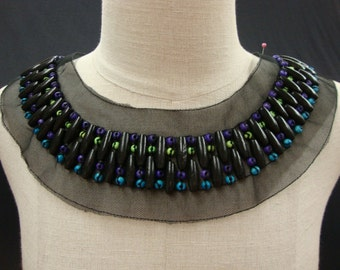 Neckline Applique Embellishment Necklace Beaded Beads on Black Tulle