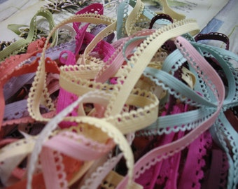 "33 yards 3/8""  width in 11 colors scalloped edge lingerie elastic trim"