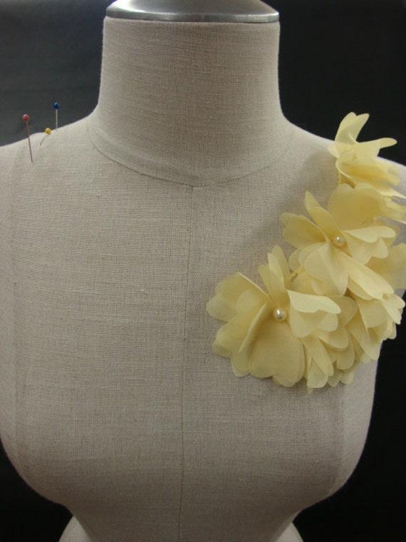 Delicate Neckline Applique Embellishment Necklace Rose Flower Petal Ruffled Chiffon Pale Yellow