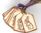 Handmade Bunny Rabbit Easter Gift Tags Hang Tags Favor Tags Labels Vintage Shabby Chic