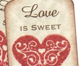 Wedding Wish Tags or Wedding Favor Gift Tags - Handmade Love Is Sweet  Vintage Style Valentine Collection