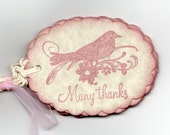 Handmade Thank You Tags Pink  Bird  Wedding Wish Favor Tags Vintage Shabby Chic French Cottage