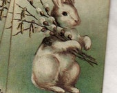 Vintage Easter Bunny Rabbit Gift Tags Favor Tags Hang Tags Shabby Chic Primitive