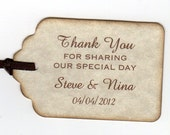 50 Thank You Tags Gift Tags Wedding Favor Tags Shower Favor Tags Labels Hang Tags - Vintage Personalized Vintage