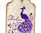 50 Peacock Thank You Tags Gift Tags Wedding Favor Tags Shower Favor Tags Labels Hang Tags - Vintage Purple