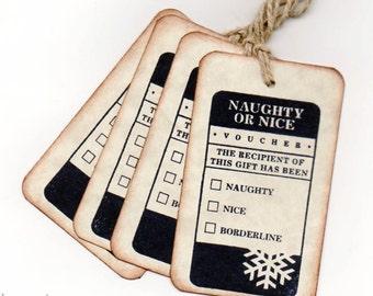 Christmas Gift Tags Naughty or Nice Christmas Tags Hang Tag Labels Set of 6 Tags  Vintage Style