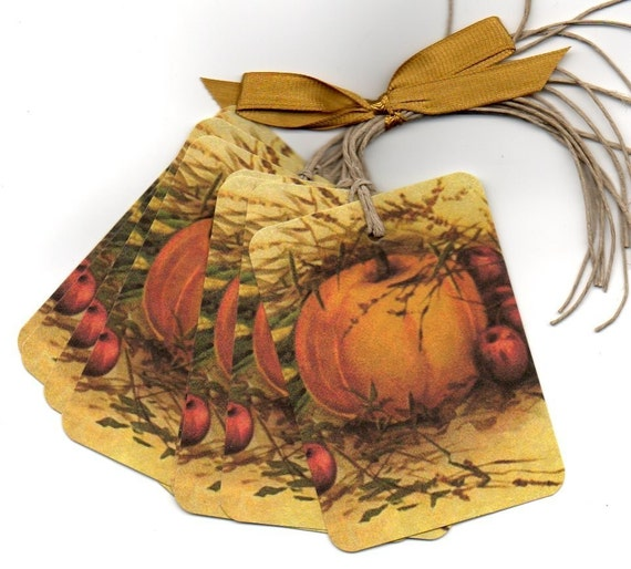 Autumn Gift Tags Hang Tags Place Cards Escort Cards Halloween Pumpkin Vintage
