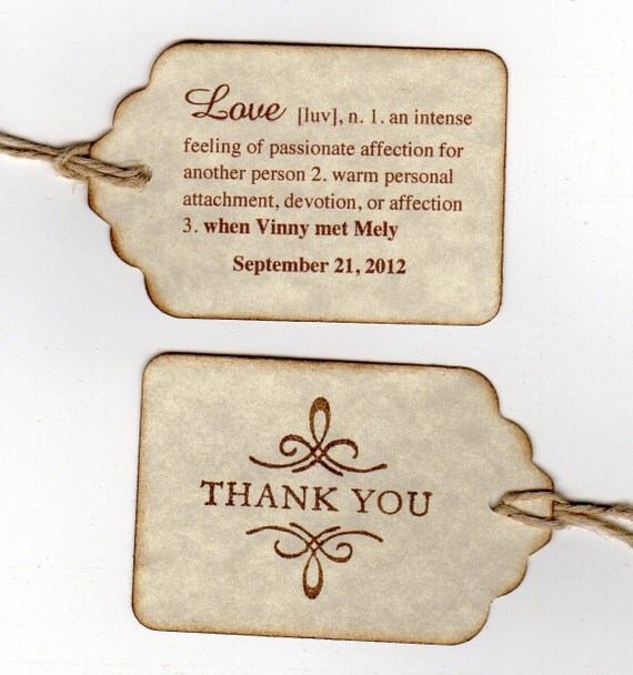 Custom Listing For Mely - 175 Personalized Double Sided Wedding Favor Thank You Gift Tags - Vintage Style