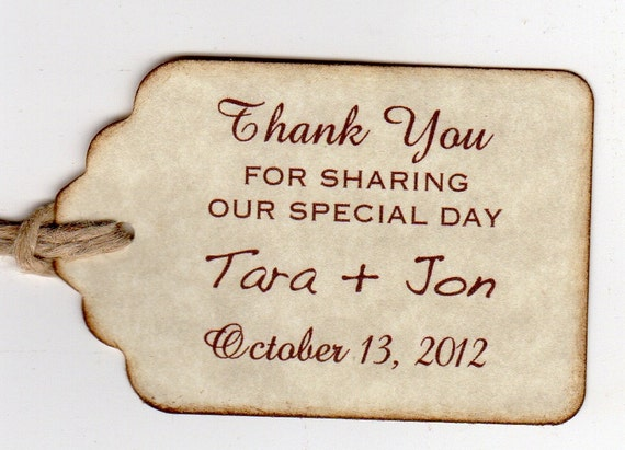 Custom Listing For Tara - 200 Personalized Thank You Wedding Favor Tags /  Wedding Gift Tags / Labels / Hang Tags - Vintage Style