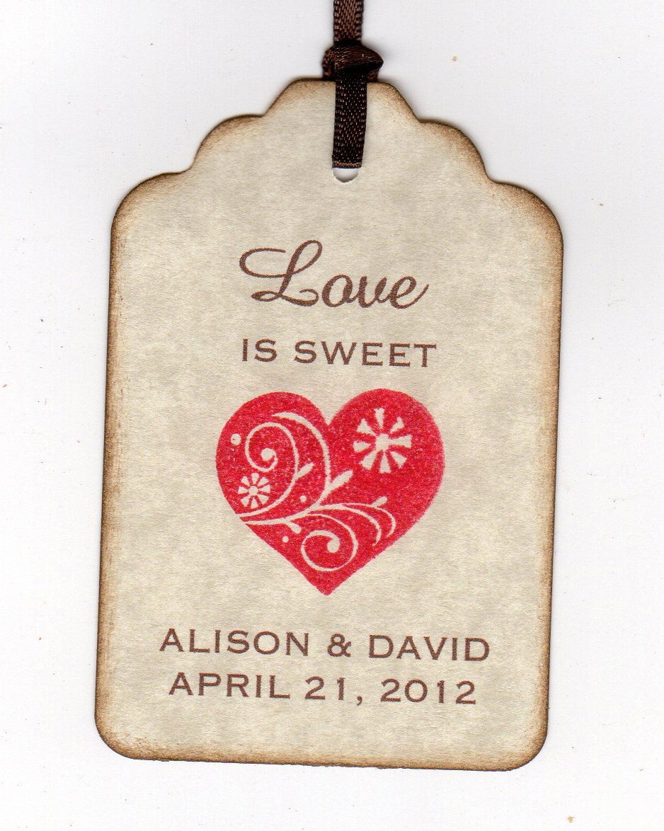 50 Wedding Favor Gift Tags Love Is Sweet Heart by luvs2create2
