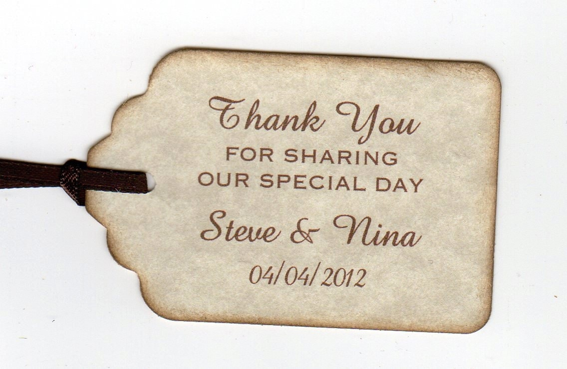 50 thank you tags gift tags wedding favor tags shower favor