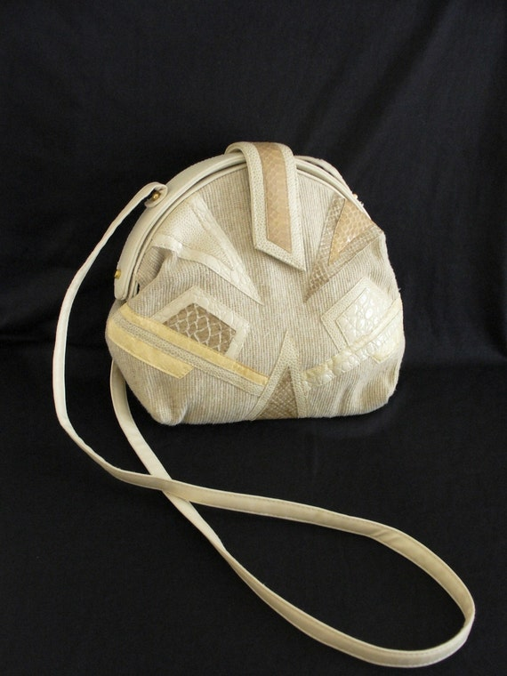 80s Vintage Beige Purse with Snake Skin Patches