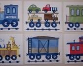 Train nursery wall art, train engine kids art , boys transportation art prints- set of 4 prints